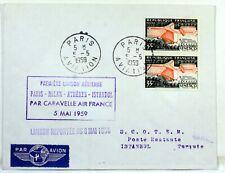1959 CARAVELLE PARIS ROME ATHENES ISTAMBUL AIR FRANCE Premier vol AC119