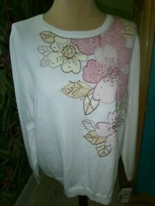 """WOMANS SIZE 1X""""ALFRED DUNNER""""NEW ROSE/TAN/WHITE STUDDED PULLOVER SWEATER"""