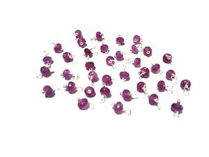 50 Pcs Purple Chalcedony Rondelle 4-4.5mm Loose Beads, Silver Wire Wrapped Link