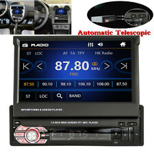 7in Single 1DIN Car MP5 Player Bluetooth Dash Unit Stereo Radio Auto Telescopic