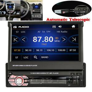 7in Single 1DIN Car MP5 Player Bluetooth Dash Unit Stereo Radio Auto Telescopic