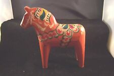 "Swedish Dala horse 7""  Sweden Vintage hand carved no dip Nordic Folk Art"