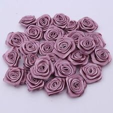 100pcs Rose Flower Satin Ribbon Hair Bow Hairband Wedding Appliques Sewing Craft