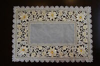 Embroidered Organza White Silver Gold Rhine Stone Floral Placemat Runner Wedding
