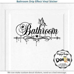 Restroom Door Sign Waterproof Vinyl Decal Sticker Wall Art Home Decor