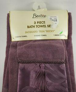 "Beatrice 3 piece bath towel set Jacquard trim ""becky"" tassels Luxury fancy"