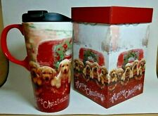 Cypress Refresh Ceramic Travel  Mug 17 oz Golden Retriever Puppies Christmas BOX