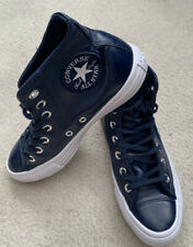 Converse All Star Women Leather Navy Trainers - Size 4.5 UK/37 EUR (worn Once)
