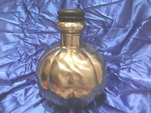 Welded Metal Vase Decanter Style with Wooden Top Cork Brushed Silver~Home Decor