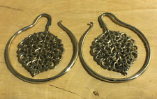 White brass ornate tribal leaf hoop weights 8g and up ear weights hangers hoops