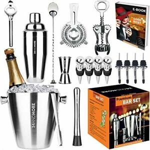 Bartender Kit Ice Bucket 3½qt 17pcs. Premium Cocktail Set Mixology Kit Bar or...