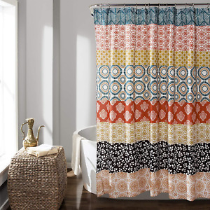 Bohemian Stripe Shower Curtain Turquoise/Orange Anthropologie Boho Quatrefoil