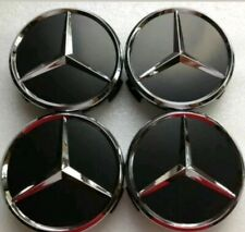 Mercedes Benz Wheel Centre Caps 75mm Alloy Hub Emblem Badges Glossy Black Chrome
