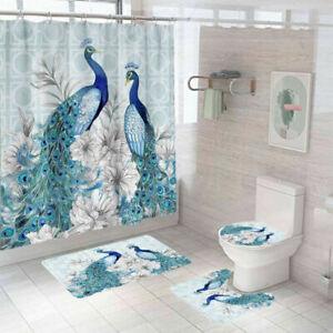 Peacock Shower Curtain Bathroom Rug Thick Bath Mat Non-Slip Toilet Lid Cover