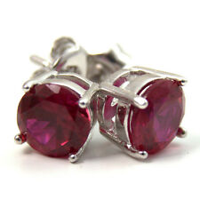 Diamond-Unique 4 Claw Ruby Studs Sterling Silver