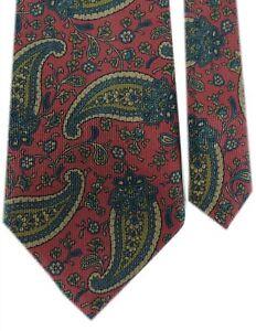 "Coach Men's 100% Silk Knit Paisley Neck Tie Burgundy Multi 3 7/8"" x 57"""