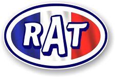 Oval Retro RAT Ratlook French France Flag STP Style Vinyl car sticker Decal