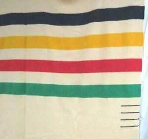 Vintage HUDSON BAY Blanket Wool Four Point Stripe Black Yellow Red Green England