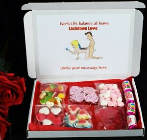 Personalised Sweets Box 3D Heart Funny Sexy Valentines Day Gift Hamper Her him