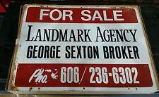 "Vintage Real Estate Sign Danville Kentucky Realty Metal Tin 24"" x 18"" 1960s?"