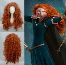 Disney Pixar Animated movie of Brave MERIDA cosplay Long curly orange wig AE2