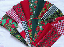 Christmas Polycotton Patchwork Remnant Squares~17 cm~8 pieces~Craft