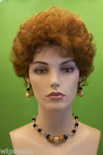 Dark       Red Short Human Hair  Wavy Curly Wigs