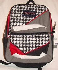 NWT JANSPORT 90's BACKPACK BLACK WHITE WEAVE W/RED ACCENTS PADDED STRAPS~LAST 1