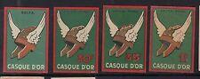 4 Anciennes étiquettes  Allumette France  Casque D'or