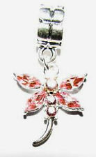 PINK  DRAGONFLY DANGLE CHARM S/P  EUROPEAN BEAD