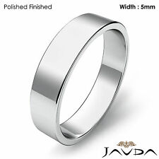Wedding Band Flat Pipe Cut Ring 5mm Women Plain 18k White Gold 5.1gm Sz 6 - 6.75