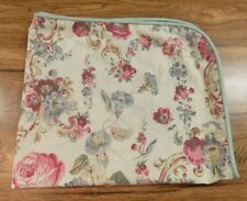 Laura Ashley Standard Pillow Sham Cream Floral Green Edging Country Chic