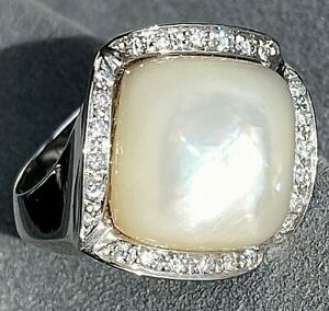 HUGE 18K White Gold Diamond Cushion Mother Of Pearl MOP Cocktail Ring Sz 7 Italy