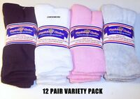 12 Pairs Womens Physicians Choice VENTILATED Diabetic Crew Socks VARIETY US Made