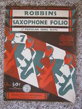 Rare Music - Robbins Saxophone Folio of Popular Song Hits - Early 1930's - MGM