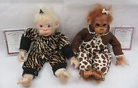 Lot Of 2 Ashton Drake Lifelike Baby Chimpanzees Monkey Doll Little Enu & Banji