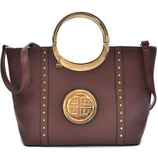 New Dasein Womens Handbags Glossy Leather Satchel Tote Shoulder Bag Emblem Purse