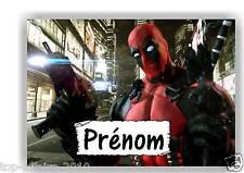 Plaque de porte en ( sur ) bois Deadpool avec prénom   N° 127