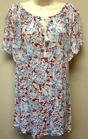New Chaps Women's Plus 2X Knit Peasant Top Red White Blue Floral Tassel Tie