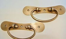 """2 large BOX HANDLES drawer vintage aged solid Brass DOORS very heavy 7"""" screw B"""