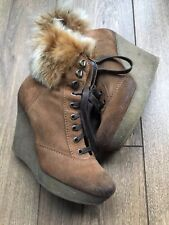 VGC Bertie Brown Suede Sheepskin Shearling Cuff Wedge Ankle Boots 5 38