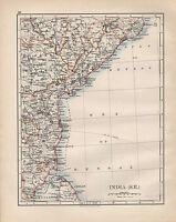 1902 Victoriano Mapa ~ India Sur East ~ Madras Orissa Nizams Dominions