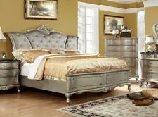 Antique Gold Finish Padded Fabric 1pc Bedroom Wooden Furniture Queen Size Bed