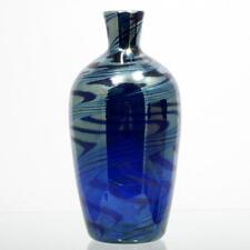 Iridescent Blue Art Glass Vase Hand Blown Studio Glass Cobalt Blue Silver