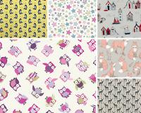 100% Cotton Fabric Lifestyle Rabbits Fox Butterflies World Map Upholstery 140cm