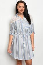 NEW..Stylish Plus Size Shirt Style Stripe Dress with Lace Detail..Sz16/1XL