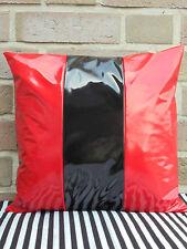 1 Kissenbezug Kissenhülle Lack Weich Glänzend Rot Schwarz Streifen 40x 40 cm