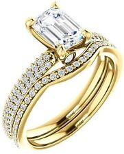 1.52 ct Emerald & round Diamond Engagement Wedding 14k  Yellow Gold Ring G SI1
