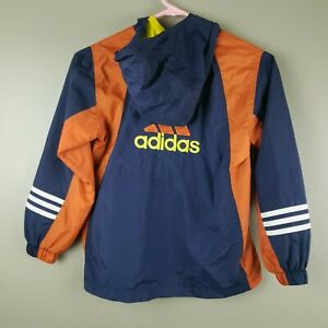 Adidas Vintage Girls Youth Jacket Pullover Windbreaker 7-8 Small Hooded