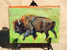 Hand painted miniature oil painting of a Buffalo Bison Bull, with display easel